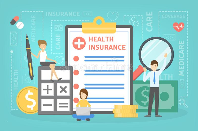 Health insurance concept. People standing at clipboard. Health insurance concept. People standing at the big clipboard with document on it. Healthcare and stock illustration