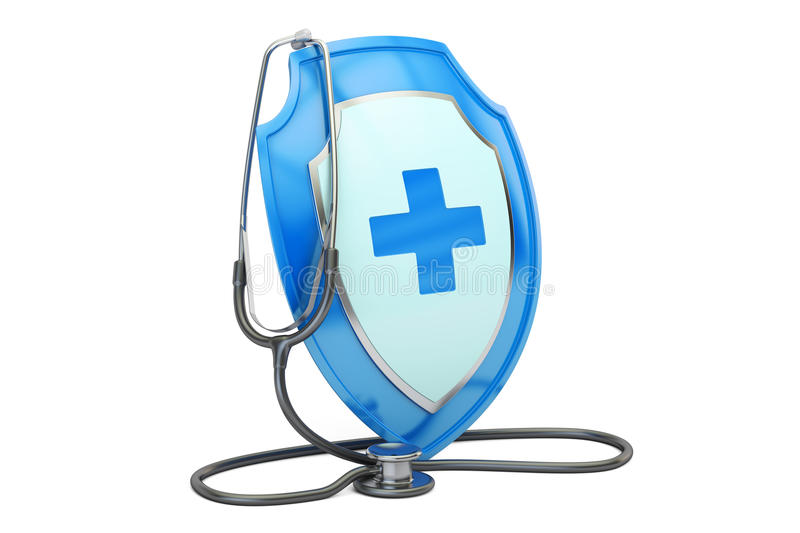Health insurance concept. Stethoscope with shield. 3D rendering. Health insurance concept. Stethoscope with shield stock illustration
