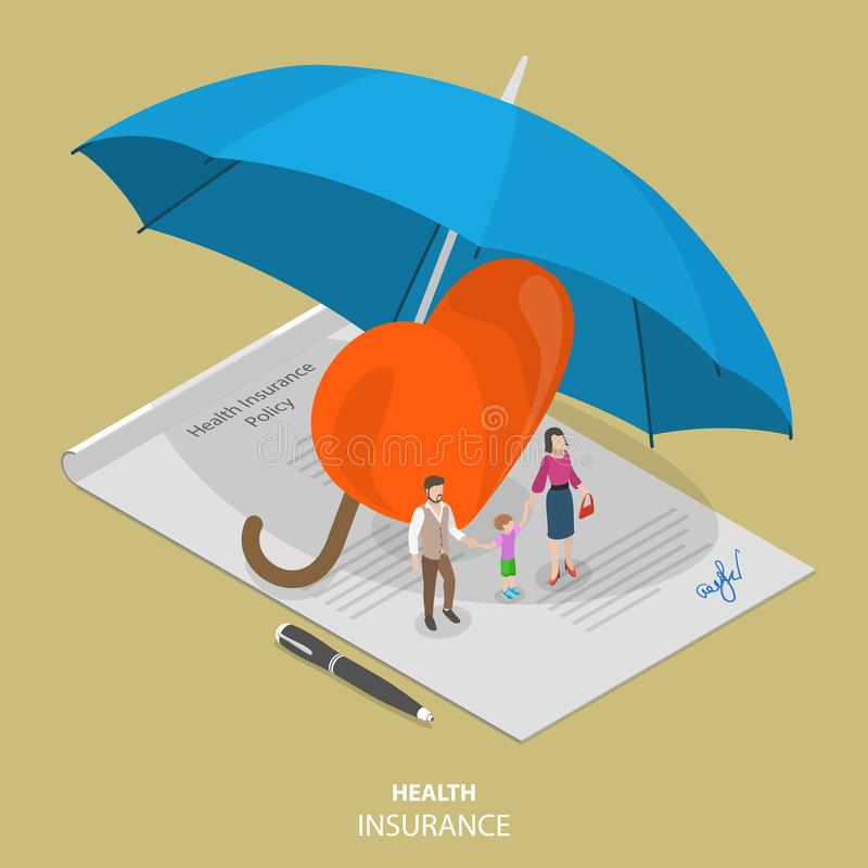 Health insurance flat isometric vector concept. People are standing on the signed health insurance policy, near them are a big heart symbol and all those stock illustration