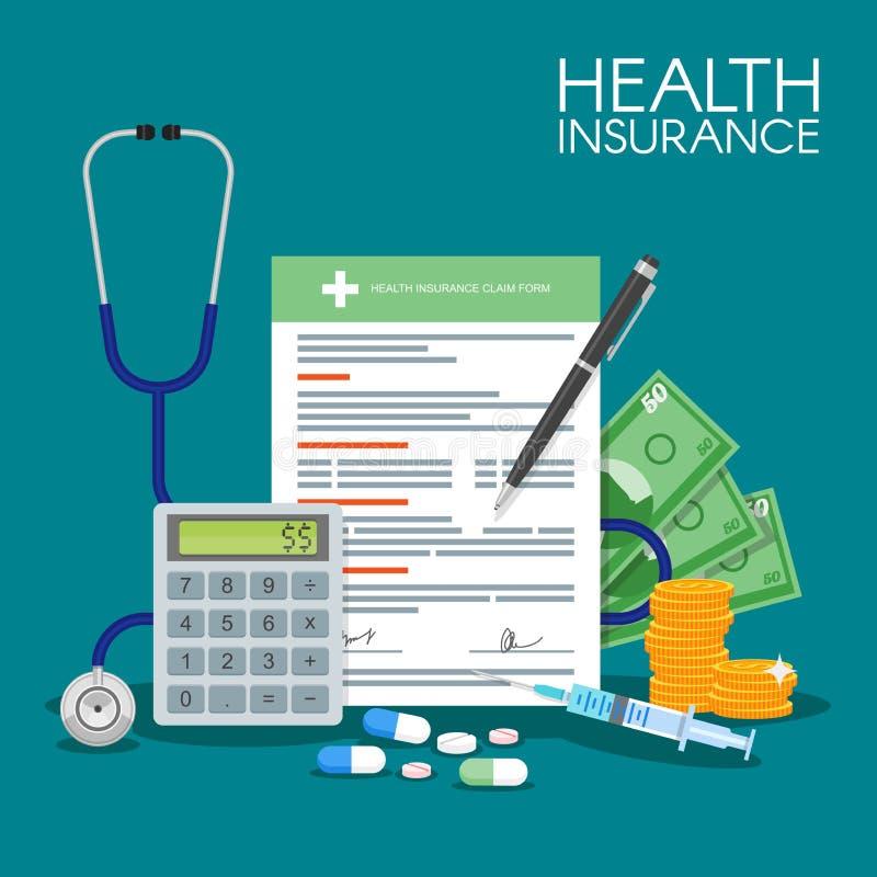 Health insurance form concept vector illustration. Filling medical documents. Stethoscope, drugs, money, calculator. Health insurance form concept vector stock illustration