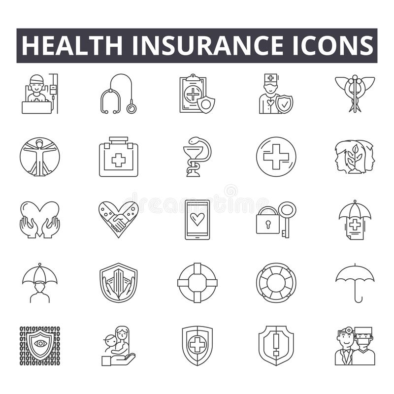 Health insurance line icons for web and mobile design. Editable stroke signs. Health insurance outline concept. Health insurance line icons for web and mobile vector illustration