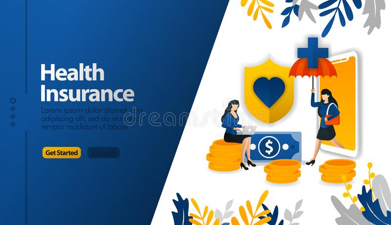 Health insurance mobile apps with protective umbrellas and shields vector illustration concept can be use for, landing page, templ. Ate, ui ux, web, mobile app vector illustration