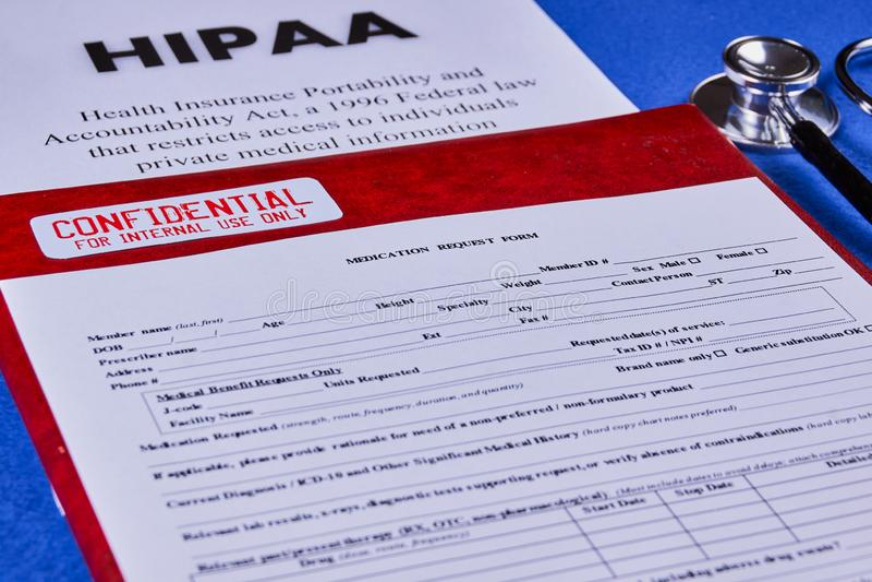 Health Insurance Portability and accountability act stock photography