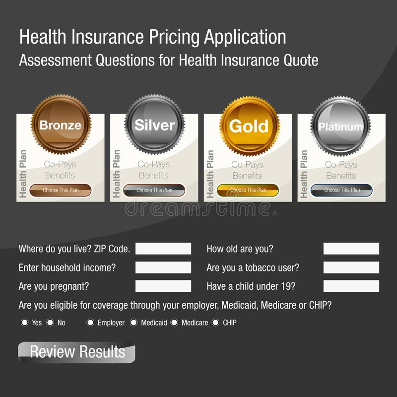 Health Insurance Pricing Application Form. An image of a Health Insurance Pricing Application Form for assessing benefits and eligibility royalty free illustration