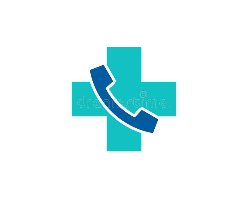 Health Medical Call Icon Logo Design Element stock illustration