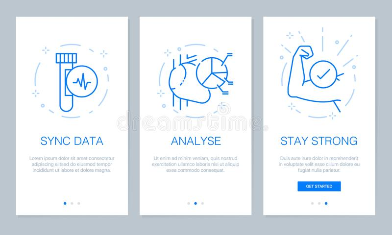 Health and medical concept onboarding app screens. Modern and simplified vector illustration walkthrough screens template for mobi stock illustration