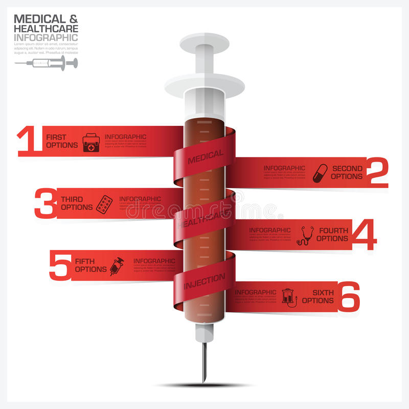 Health And Medical Infographic With Bind Spiral Tag Syringe Diagram royalty free illustration
