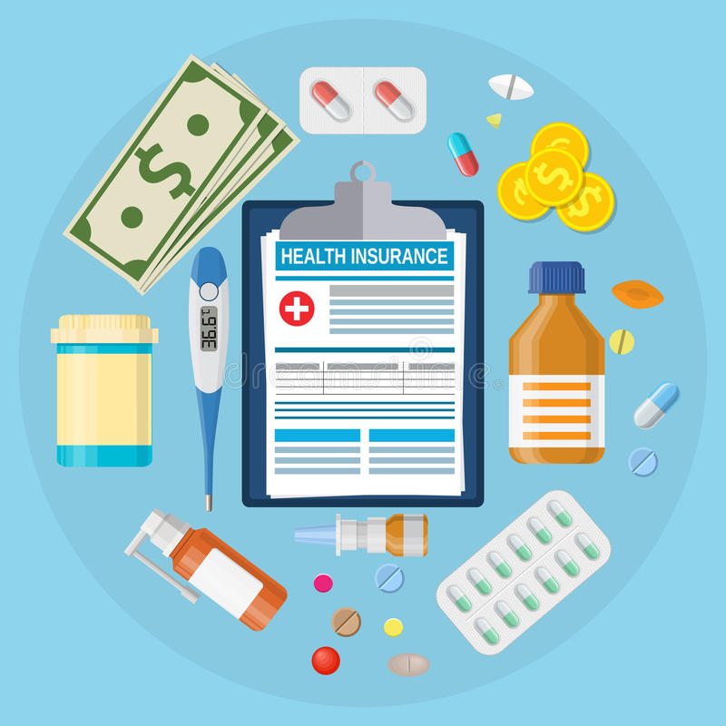 Health medical insurance form. Thermometer medicine, pill, drugs, capsules, money Vector illustration in flat style stock illustration