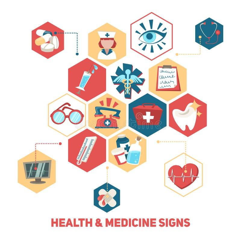 Health and medical signs concept. Hospital medical health care and ambulance signs concept vector illustration royalty free illustration