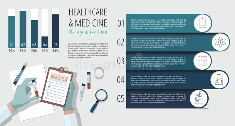 Health Medicine Infographics Information. Doctor holding blood sample and making notes. royalty free illustration