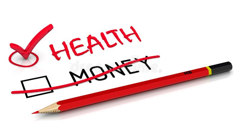 Health is more important than money. A red pencil crossed out the word MONEY and wrote the red word HEALTH. The concept of selection changes. 3D Illustration royalty free illustration