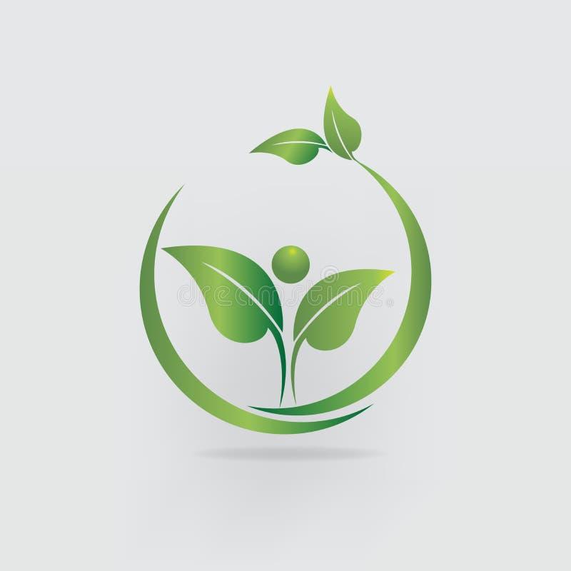 Logo health nature leaf people icon vector design royalty free illustration