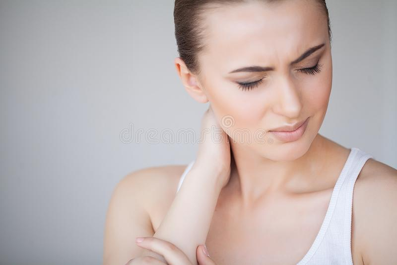 Health and Neck Pain. Beautiful Woman Feeling Sick, Having Headache, Painful Body Pain royalty free stock photography