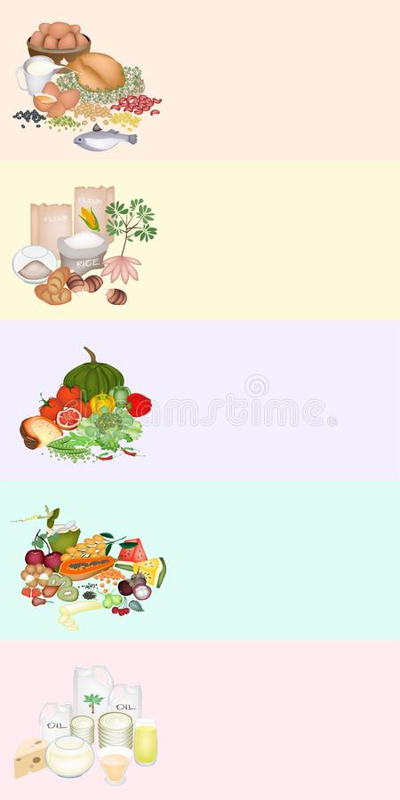 Health and Nutrition Benefits of Food Groups on Multicolor Banner. Food Group Labels for Carbohydrate, Protein, Fat, Vitamin and Mineral to Improve Nutrient royalty free illustration