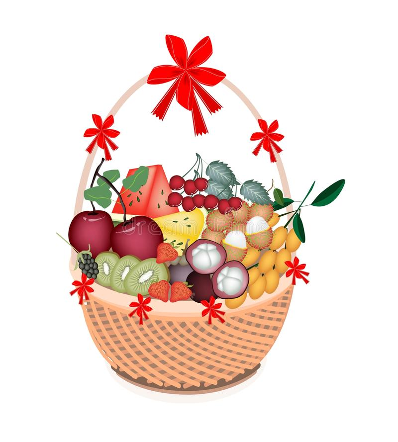 Health and Nutrition Fruit in Gift Basket stock illustration
