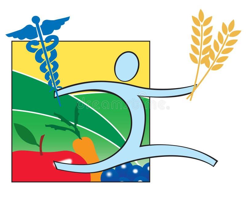 Health Nutrition and Medicine logo icon. Balance between health, nutrition and medicine stock illustration