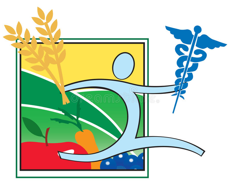 Health, Nutrition and Medicine logo icon. Balance between health, nutrition and medicine royalty free illustration