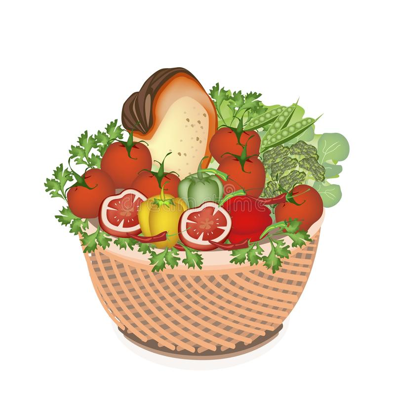 Health and Nutrition Vegetable and Food in Basket stock illustration