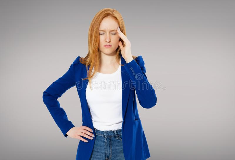 Health And Pain. Stressed Exhausted Young Red Hair Woman Having Strong Tension Headache. Closeup Portrait Of Beautiful Sick Girl royalty free stock images