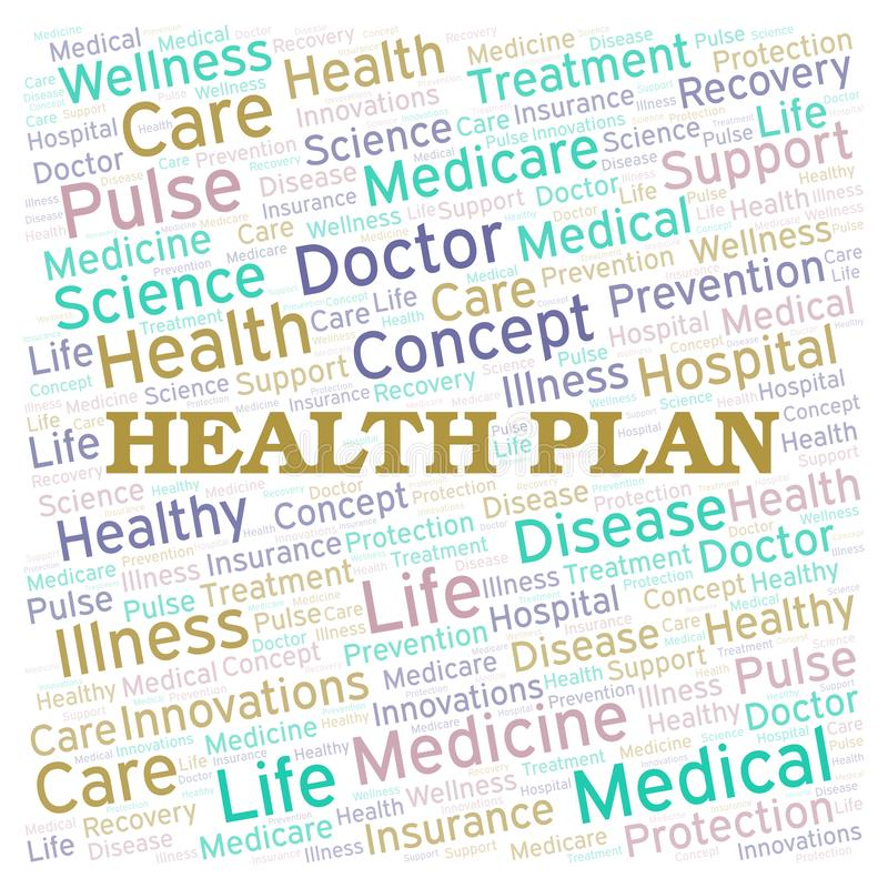 Health Plan word cloud royalty free illustration