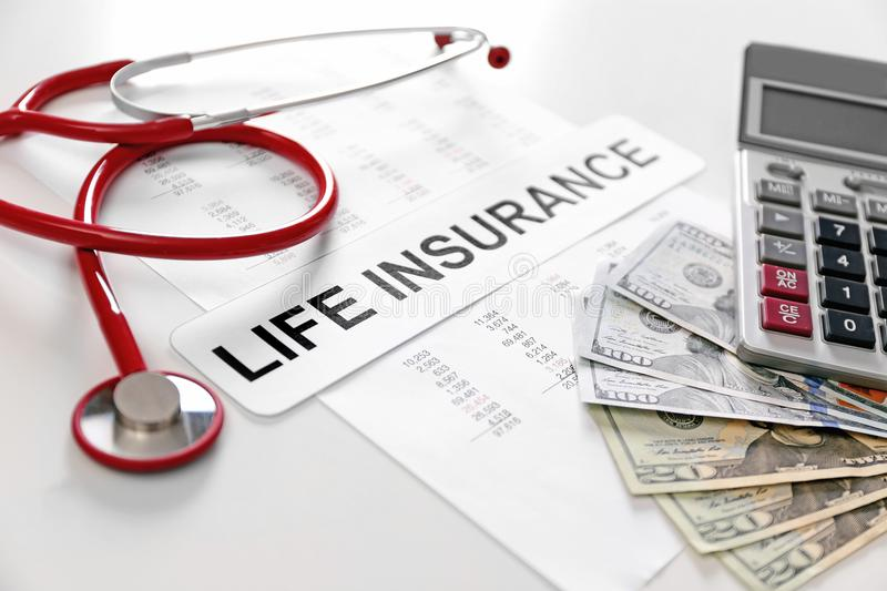 Health planning concept. Composition of life insurance. Symbols royalty free stock images