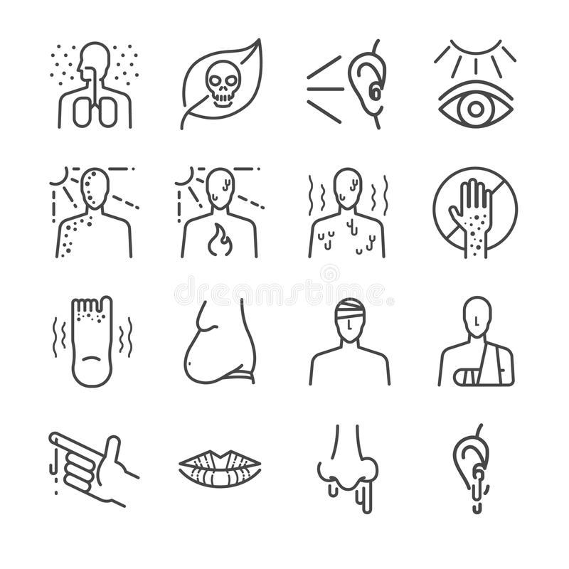 Health problem and disease icon set stock illustration