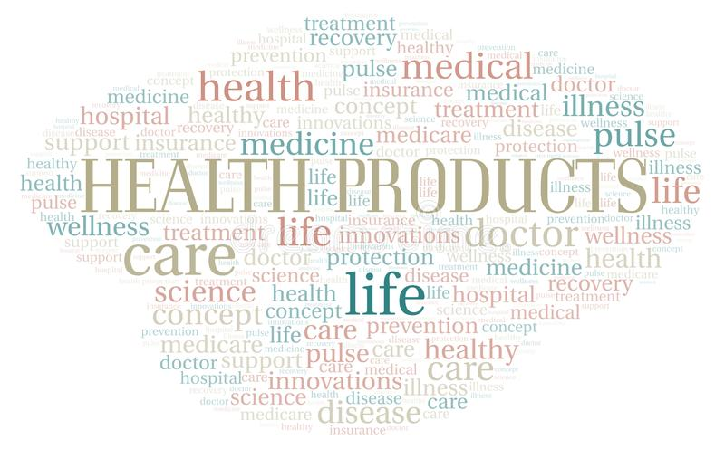 Health Products word cloud royalty free stock photography