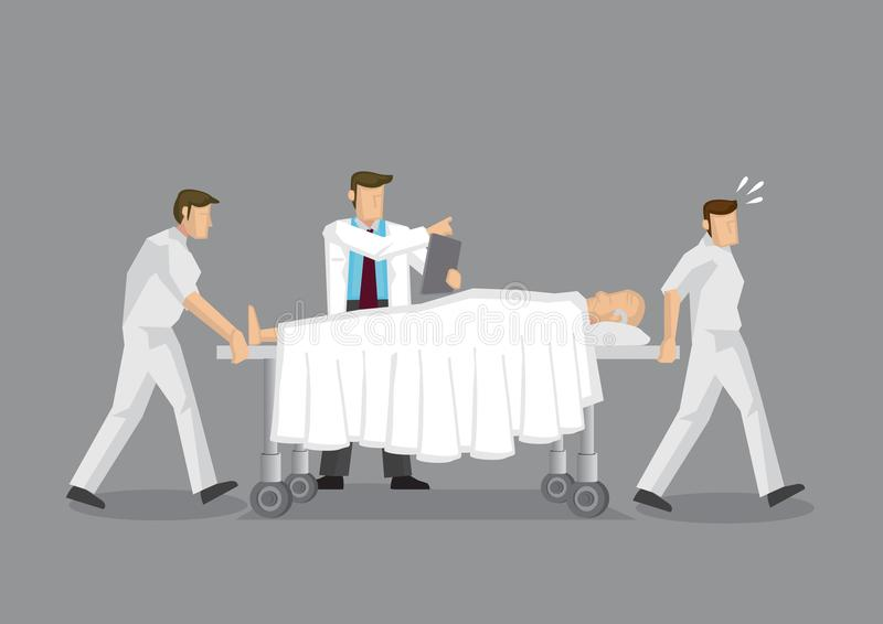Health Professionals and Patient on Mobile Hospital Bed During E. Health Professionals transporting elderly patient on mobile hospital bed with doctor directing royalty free illustration
