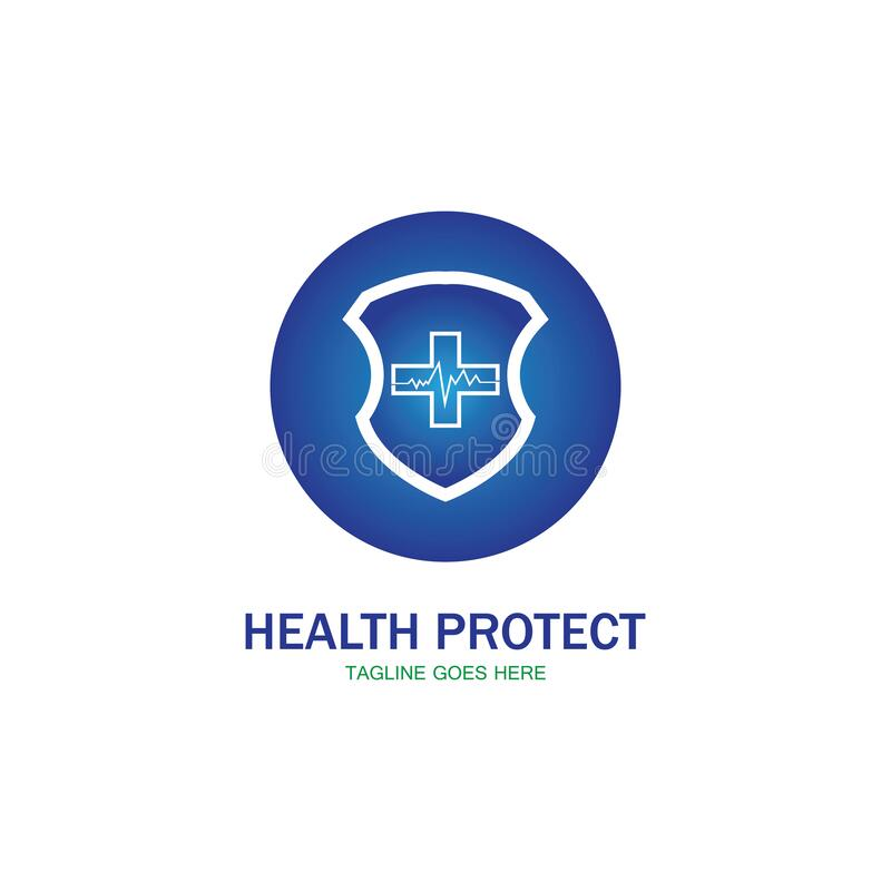 health protection with shield logo design vector template for medical or insurance company-vector stock illustration