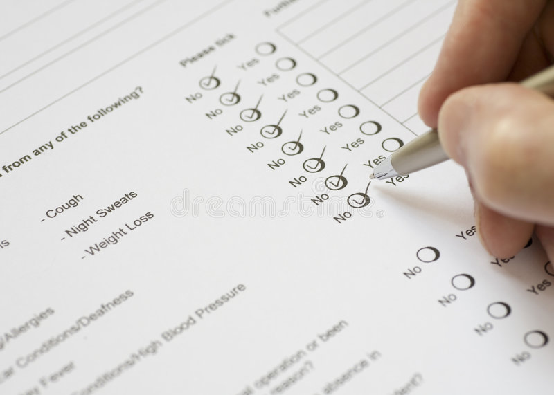 Download Health Questionnaire stock photo. Image of form, excellent - 5055928