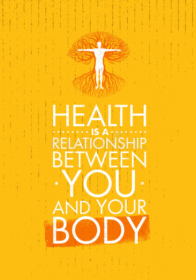Health Is A Relationship Between You And Your Body. Inspiring Creative Motivation Quote Template. Vector Typography. Banner Design Concept With Man Inside Old stock illustration