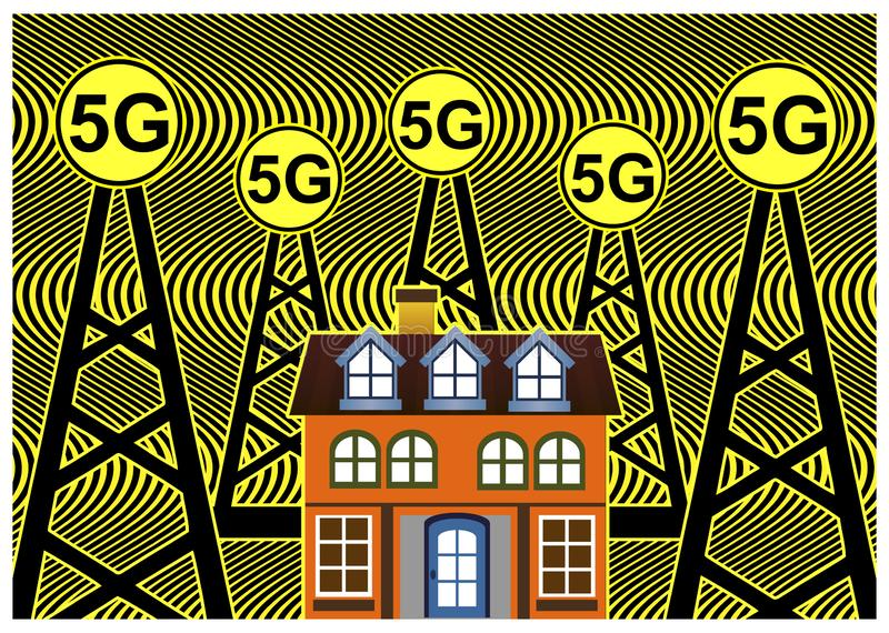 Health risks with 5G networks vector illustration