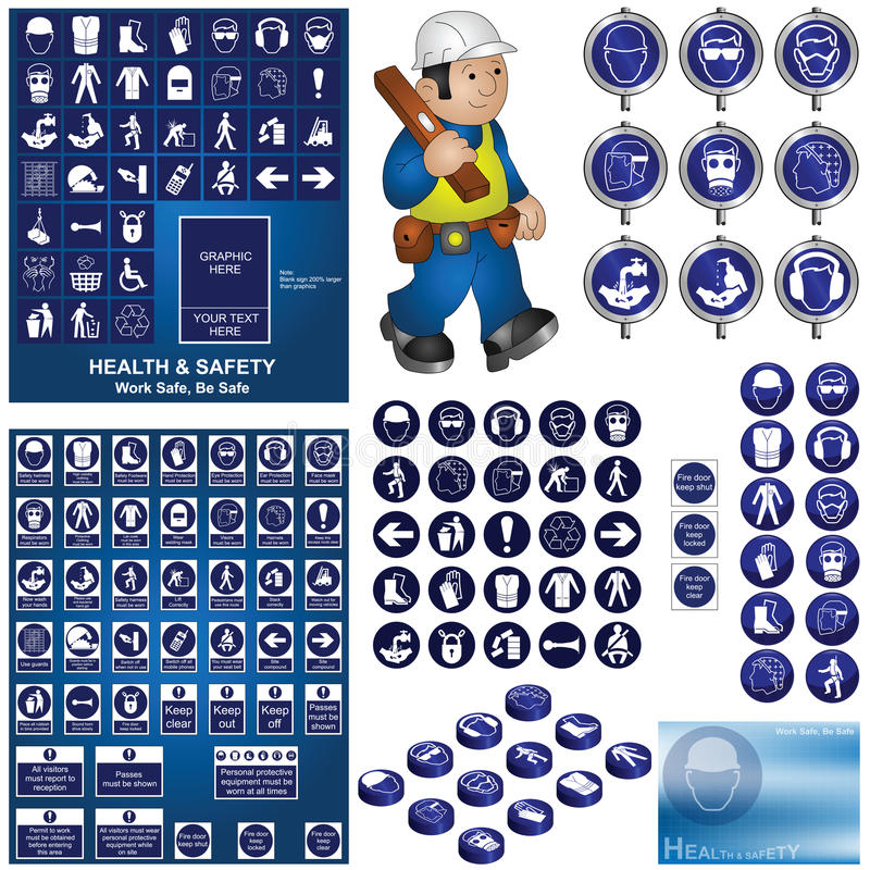 Health and safety. Construction and building health and safety collection including make your own health and safety sign