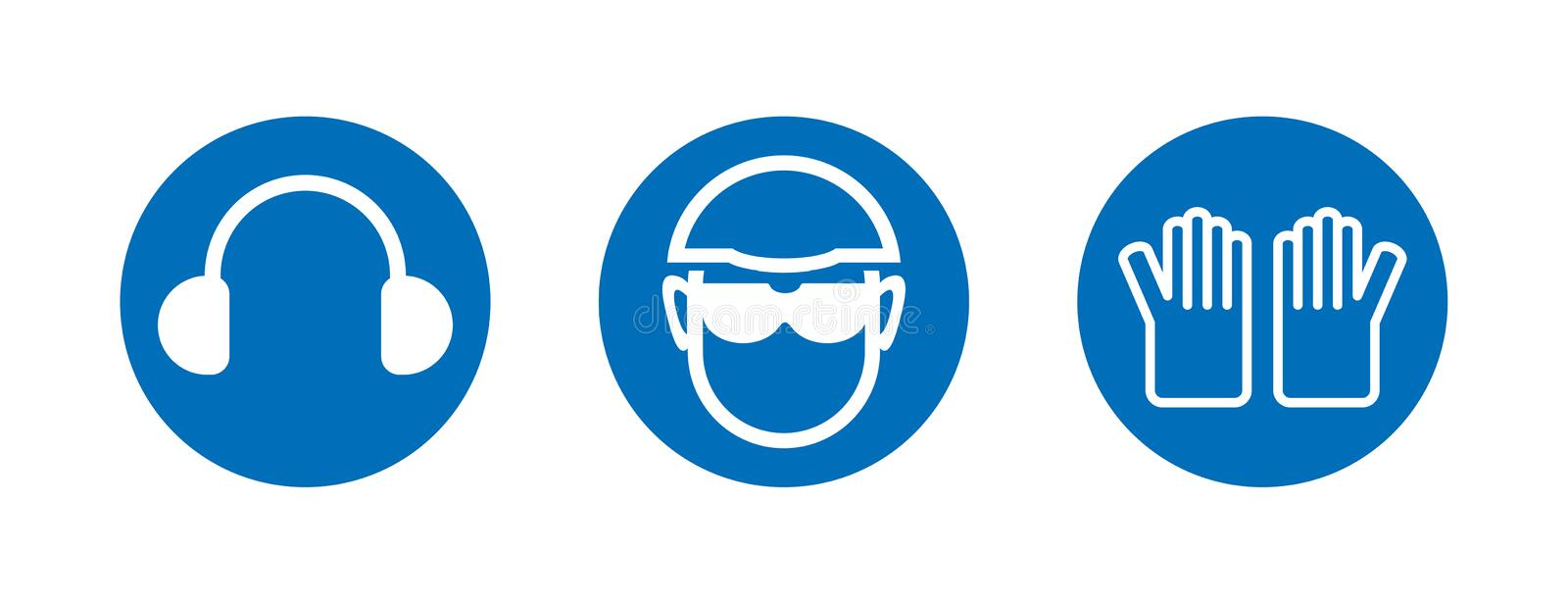 Three heath and safety icons vector illustration