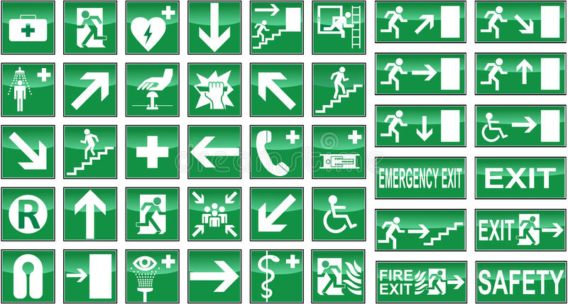 Health Safety Signs Sign Signal Signals Collection. Collection of green health and safety signs signals isolated on white background. Eps file is available stock illustration