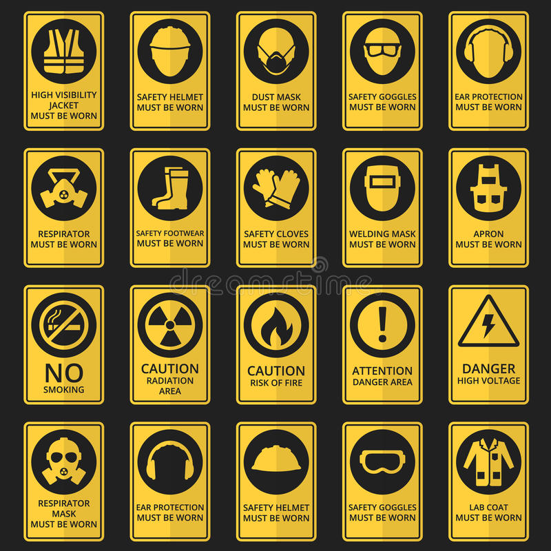 Health and safety signs. Equipment must be worn. Health and safety signs. Safety equipment must be worn. Vector illustration vector illustration