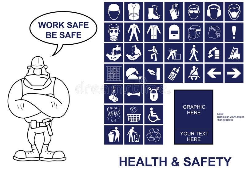 Health and Safety signs. Make your own Health and Safety sign with copy space for provided graphics and your own text stock illustration