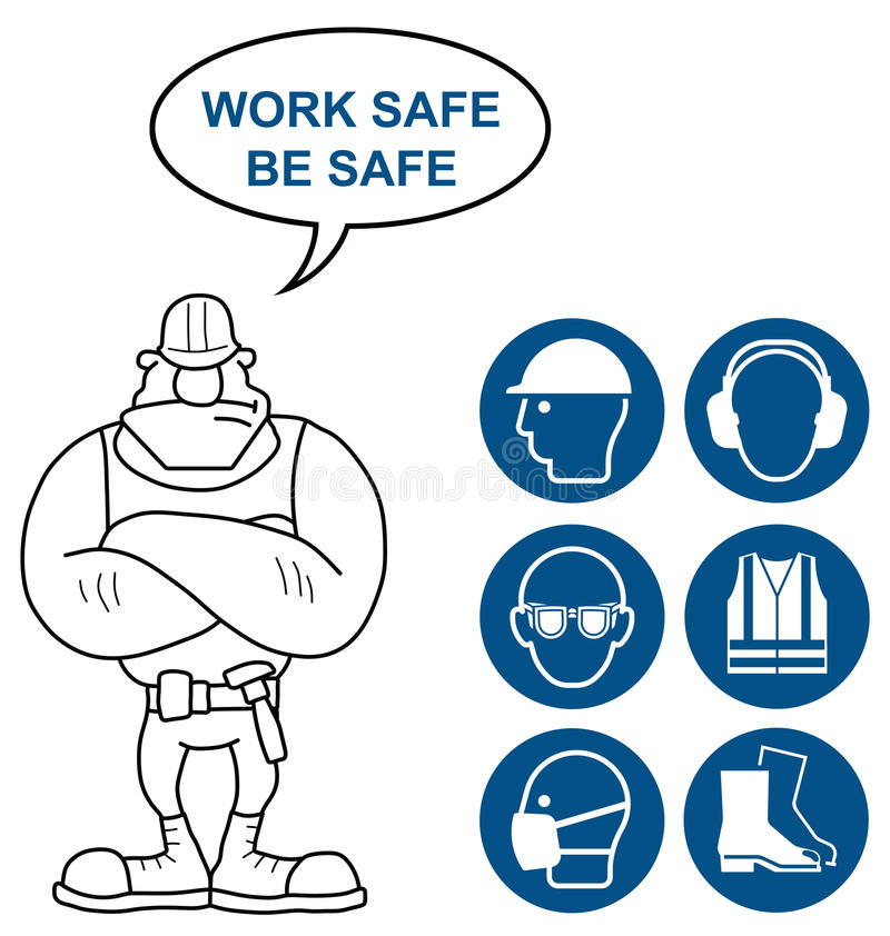 Health and Safety Signs. Mandatory construction manufacturing and engineering health and safety signs to current British Standards with work safe be safe message stock illustration