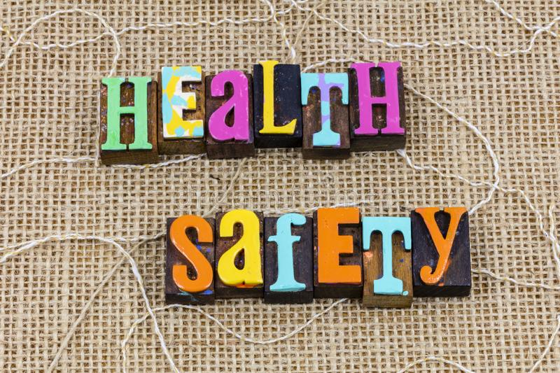 Health safety welfare message think work safe environment goal royalty free stock images