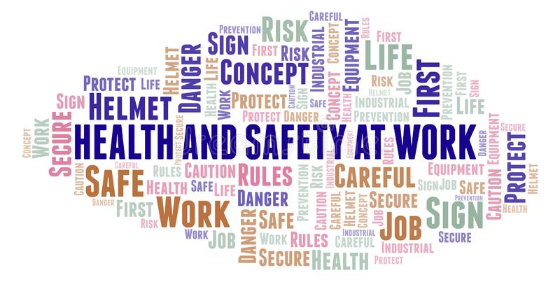 Health And Safety At Work word cloud. stock illustration