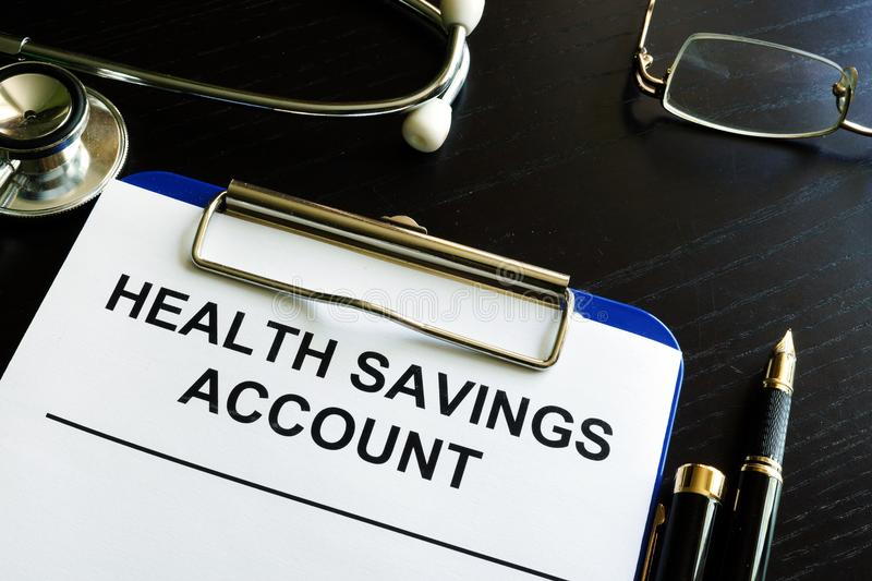 Health savings account HAS form. Health savings account HAS form in a clipboard royalty free stock photo