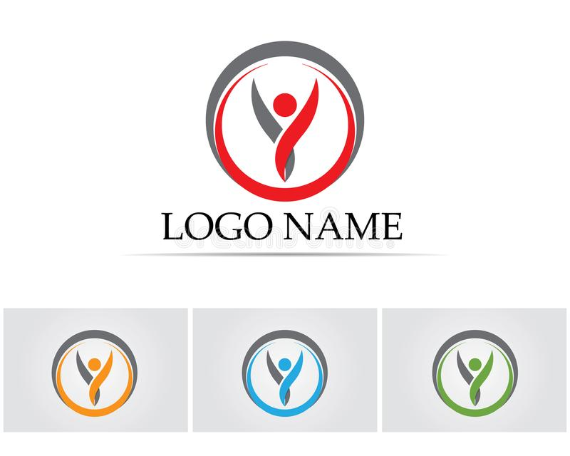 Health success people care logo and symbols template stock illustration