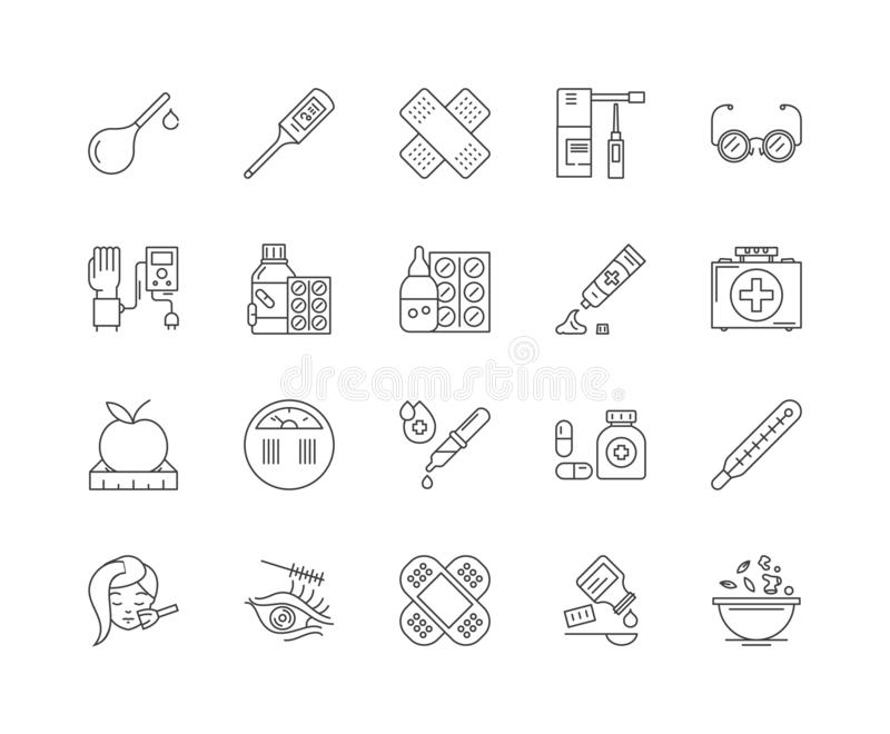 Health supplements line icons, signs, vector set, outline illustration concept. Health supplements line icons, linear signs, vector set, outline concept royalty free illustration