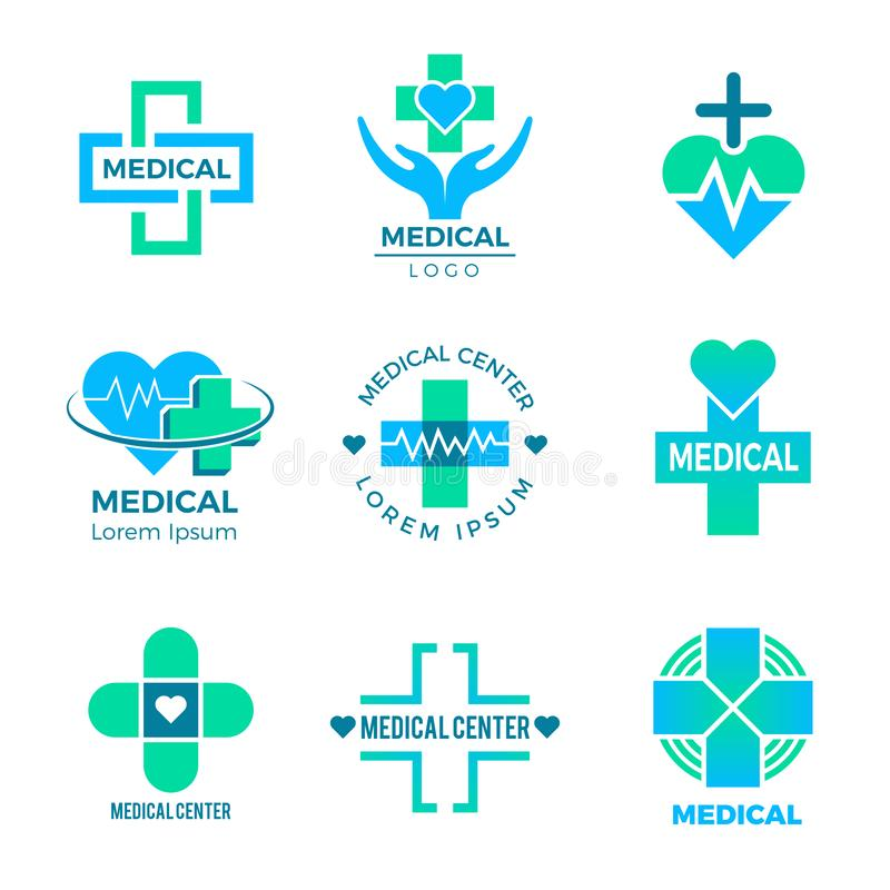 Health symbols. Medical signs for logo clinic healthcare design cross plus vector pictures isolated. Illustration of health medicine logo, medical healthcare vector illustration