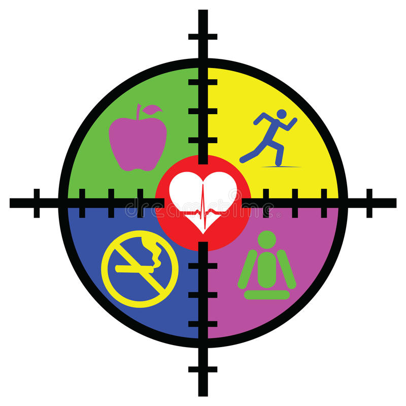 Health Target. An Abstract illustration of cross hair target containing symbols of healthy food sport and exercise no-smoking meditation and a heart royalty free illustration