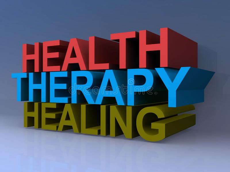 Health therapy and healing. An illustration with the words health, therapy and healing vector illustration