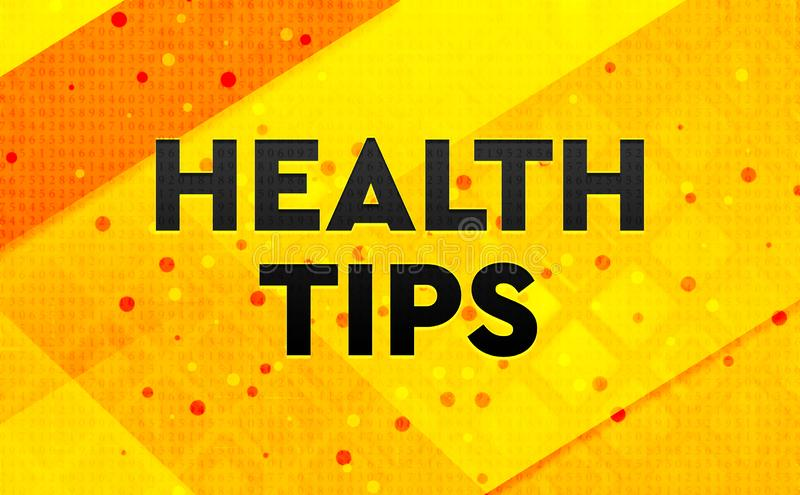 Health Tips abstract digital banner yellow background royalty free illustration