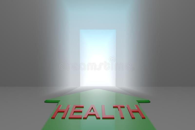 Health to the open gate. Green arrow with the health word front of the open gate , 3d rendered vector illustration