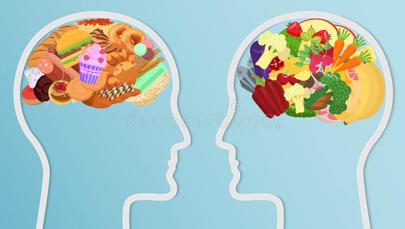 Health and unhealth Food eat in brain. Human head silhouette Diet choice healthy lifestyle concept. vector illustration