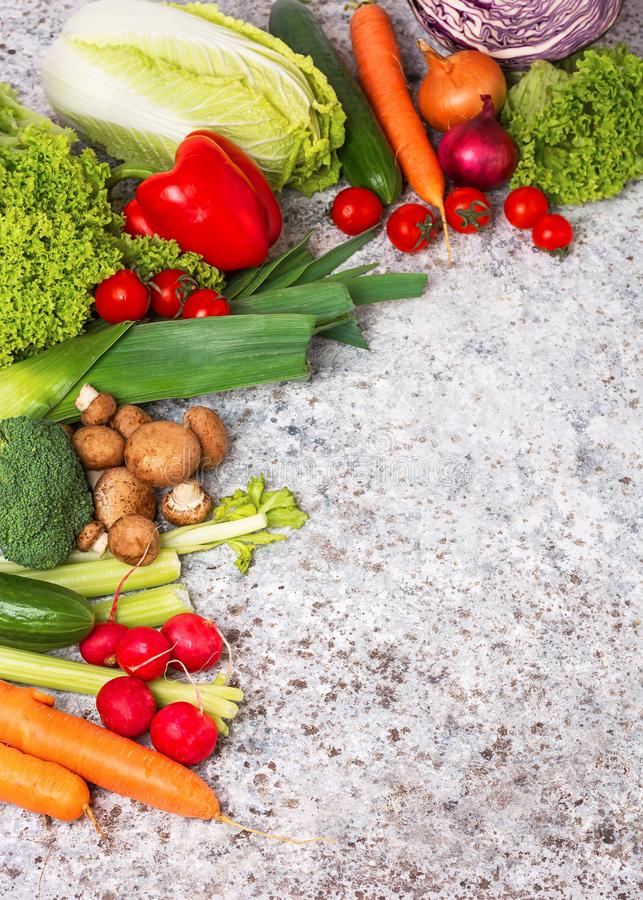 Health vegan and vegetarian food concept. Organic vegetables. Foods high in antioxidants, fiber, and vitamins. Top view stock photography
